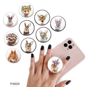 Animal Le support de téléphone portable Prises de téléphone peintes avec une base à motif imprimé noir ou blanc