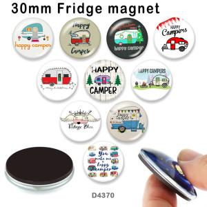 10pcs / lot Happy Car Campei Glasbilddruckprodukte in verschiedenen Größen Kühlschrankmagnet Cabochon