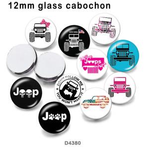 10pcs / lot Jeep Car Glasbilddruckprodukte in verschiedenen Größen Kühlschrankmagnet Cabochon