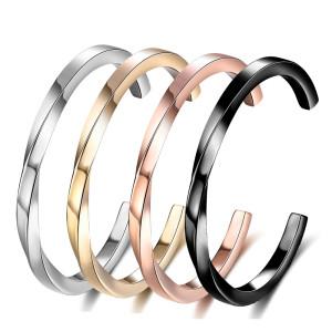 C-förmiges verdrehtes offenes Armband aus Edelstahl Paararmband Couple