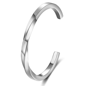 Stainless Steel C-shaped Twisted Open Bracelet Couple Bracelet