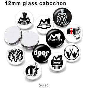10pcs / lot Jeep Autozeichenglasbilddruckprodukte in verschiedenen Größen Kühlschrankmagnet Cabochon