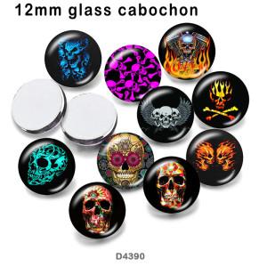 10pcs / lot Schädelglasbilddruckprodukte in verschiedenen Größen Kühlschrankmagnet Cabochon