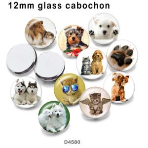 10 pcs/lot produits d'impression d'image en verre de chien de chat de différentes tailles cabochon d'aimant de réfrigérateur
