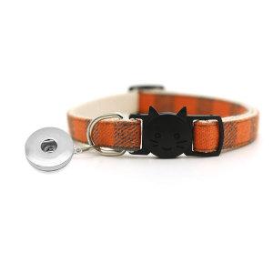 Haustier-Plaid-Patch-Katzenschnallenhalsband Hundeglocke-Kragen-Katzenhalsband passt 1 18 & 20 MM Druckknopfverschluss