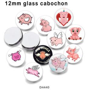 10 pcs/lot produits d'impression d'image en verre de porc de dessin animé de différentes tailles cabochon d'aimant de réfrigérateur