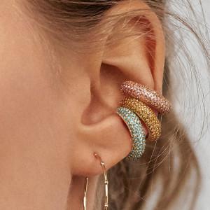 Ear clip C-shaped point diamond alloy earrings rhinestones