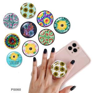 Fleur Le support de téléphone portable Prises de téléphone peintes avec une base à motif imprimé noir ou blanc