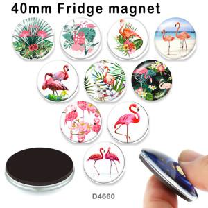 10 pcs/lot produits d'impression d'images en verre Flamingo de différentes tailles cabochon d'aimant de réfrigérateur