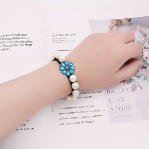 1 buttons Elastic pearl bracelet to tie the hair and elastic bands for little girls' wrists type Bracelet  fit 20mm snaps chunks