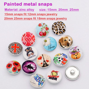Painted 15MM  20MM 25MM metal snap buttons Customer customization Customize your pattern