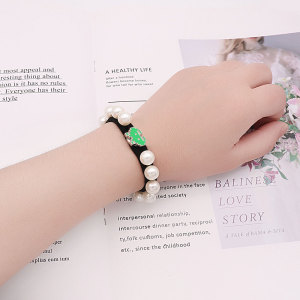 1 buttons Elastic pearl bracelet to tie the hair and elastic bands for little girls' wrists type Bracelet  fit 12mm snaps chunks