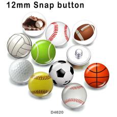 10 pcs/lot Baseball Volleyball verre image produits d'impression de différentes tailles Réfrigérateur aimant cabochon