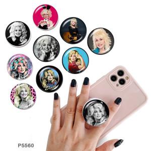 Star idol Le support de téléphone portable Prises de téléphone peintes avec une base à motif imprimé noir ou blanc
