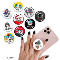 Dog The mobile phone holder Painted phone sockets with a black or white print pattern base