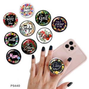 Faith Hope Mom Le support de téléphone portable Prises de téléphone peintes avec une base à motif imprimé noir ou blanc