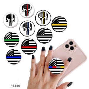 Drapeau crâne Le support de téléphone portable Prises de téléphone peintes avec une base à motif imprimé noir ou blanc