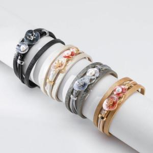 Vintage Lederarmband, geometrische Blumenperle elegante Magnetschnalle Damenarmband