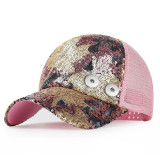 Nuevo estilo femenino marea de primavera y otoño gorra de béisbol coreana gorra con lentejuelas de moda ajuste 18 mm botón a presión beige