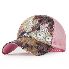 New style female spring and autumn tide Korean baseball cap fashion sequined cap fit 18mm snap button beige