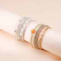 Leather retro small round beads beaded bracelets women's bracelets with diamonds