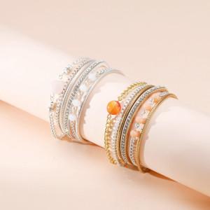 Leder Retro kleine runde Perlen Perlenarmbänder Damenarmbänder mit Diamanten