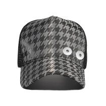 Houndstooth grid hat truck hat with sun protection fit 18mm snap button beige