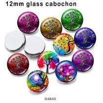 さまざまなサイズの10個/ロットカラーツリーガラス画像印刷製品冷蔵庫用マグネットカボション