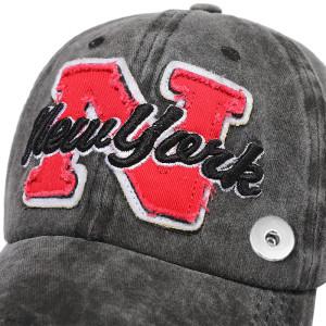 TEAM Baseballcap N-förmige Stickerei Retro gewaschen Cap fit 18mm Druckknopf beige