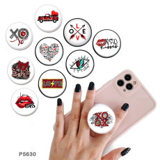 Love The support de téléphone portable Prises de téléphone peintes avec une base à motif imprimé noir ou blanc