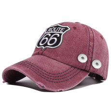 New style washed cotton new style 66 road embroidered baseball cap fit 18mm snap button beige