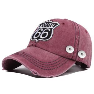 New Style gewaschene Baumwolle New Style 66 Road bestickte Baseballmütze Passform 18mm Druckknopf beige