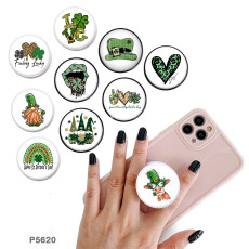 Love four-leaf clover lucky The mobile phone holder Painted phone sockets with a black or white print pattern base