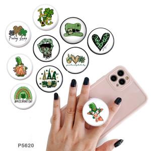 Love trèfle à quatre feuilles lucky Le support de téléphone portable Prises de téléphone peintes avec une base à motif imprimé noir ou blanc