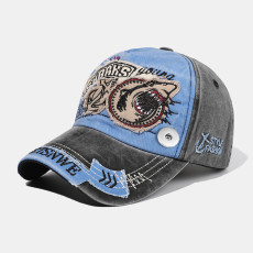 Baseball cap men and women trend shark Europe and America fit 18mm snap button beige