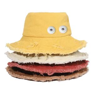 Cowboyhut mit offener Kante, weiblicher Frühlings- und Sommersonnenhut, passend für 18mm Druckknopf beige