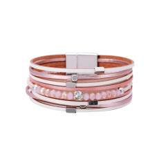 Multi-layer crystal beads ethnic style diamond small ornaments jewelry personalized fashion leather bracelet