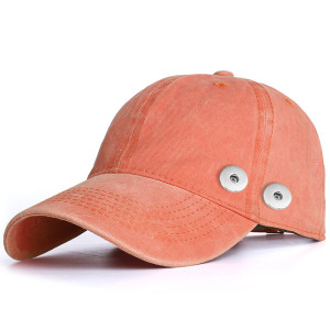 Washed cotton hat, baseball cap, old cowboy sun hat with sun protection fit 18mm snap button beige