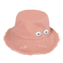 Raw edge cowboy fisherman hat female spring and summer sunhat fit 18mm snap button beige
