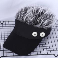 Adult Creative Wig Tennis Hat Hip Hop Sun Visor Golf Hat fit 18mm snap button beige