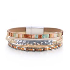 Geometric fashion thin chain bracelet ladies color matching leather buckle bracelet