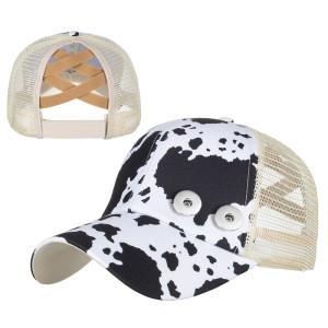 Check Leopard Stripe Baseball Cap Sun Hat fit 18mm bouton pression beige