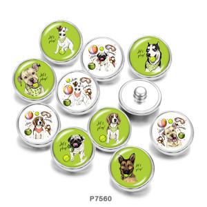 20MM lets Play  Dog  Print   glass  snaps buttons
