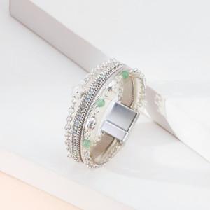 Kleine Blume weibliches Armband mehrschichtige Kette Türkis Magnetarmband