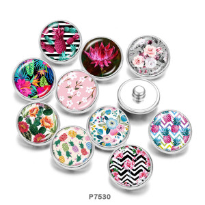 20MM  Flower  Pineapple  Print   glass  snaps buttons