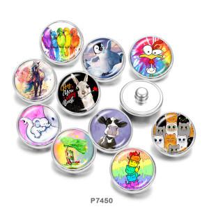20MM  frog  bird  Horse  Print   glass  snaps buttons
