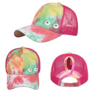 Tie-Dye Pferdeschwanz Netzmütze Baseballmütze für Männer und Frauen Paare passen 18mm Druckknopf beige