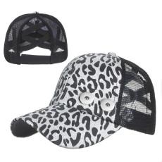 Check Leopard Stripe Baseball Cap Sun Hat fit 18mm snap button beige