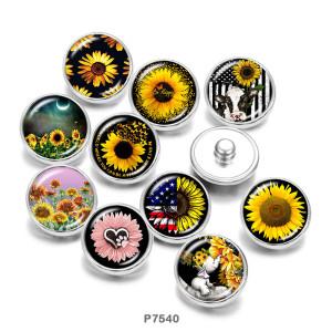 20MM  Sunflower  Flag  USA  Print   glass  snaps buttons