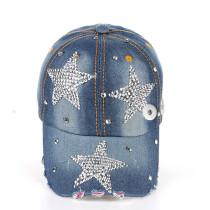 Pentagram dot diamond cowboy baseball cap fit 18mm snap button beige